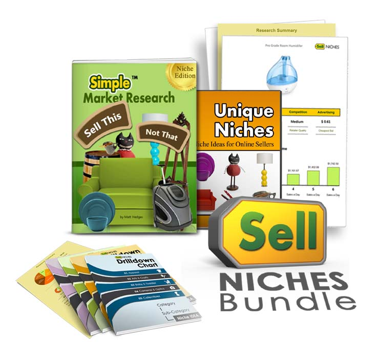 image of the sell niches digital bundle that shows you get an ebook and other digital guides that teach you how to research a niche